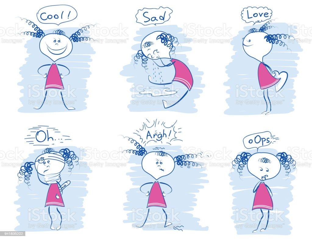 Satz Von Jungen Madchen Emotionen Vektorgrafiken Doodle Hand