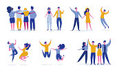 Set of young people jumping on white background. Stylish modern vector illustration with happy male and female characters, teenagers, students. Party, sport, dance and friendship team concept