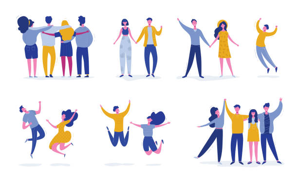 Set of young jumping friend people characters. Stylish modern vector illustration with happy male and female characters, teenagers, students. Party, sport, dance and friendship team concept Set of young people jumping on white background. Stylish modern vector illustration with happy male and female characters, teenagers, students. Party, sport, dance and friendship team concept happiness stock illustrations