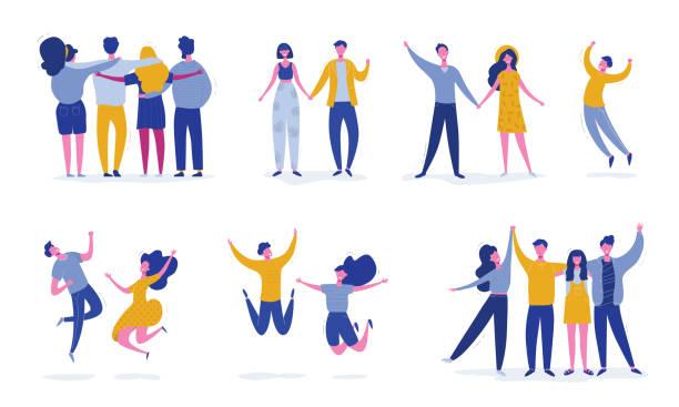 若いジャンプ友人の人々のキャラクターのセット。幸せな男性と女性の文字、ティーンエイジャー、学生とスタイリッシュなモダンベクターイラスト。パーティー、スポーツ、ダンス、フレ� - 友情点のイラスト素材/クリップアート素材/マンガ素材/アイコン素材