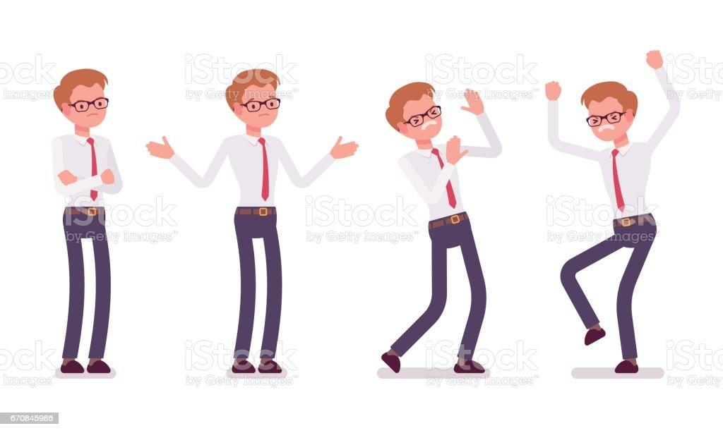 Conjunto de joven oficinista masculino mostrando las emociones negativas, vista frontal - ilustración de arte vectorial