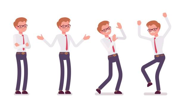 Set of young male clerk showing negative emotions, front view vector art illustration