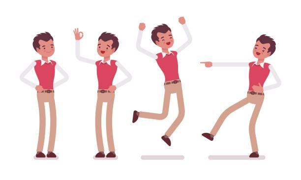 ilustraciones, imágenes clip art, dibujos animados e iconos de stock de conjunto de jóvenes trabajadores de oficina masculinos que muestran emociones positivas - emoji perezoso