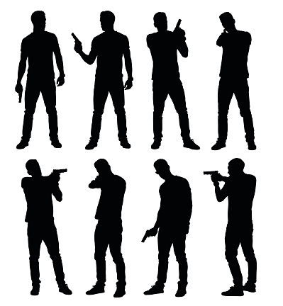 Set of young male policeman, spy or criminal holding, pointing and aiming hand gun in different poses.