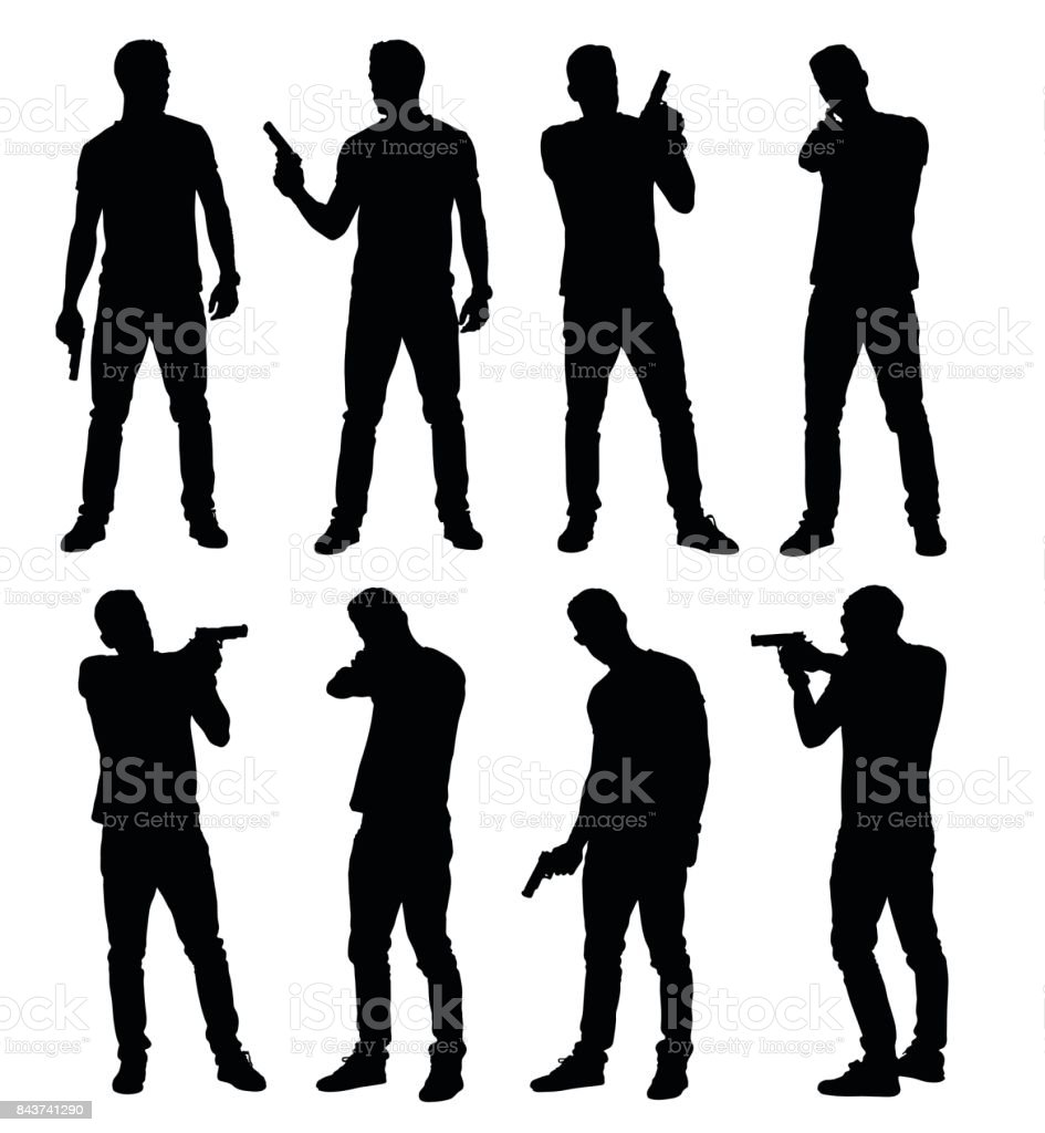 Conjunto de jovem policial masculino, espião ou criminal segurando, apontando e apontando a arma de mão em poses diferentes. - ilustração de arte em vetor