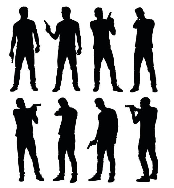 Set of young male policeman, spy or criminal holding, pointing and aiming hand gun in different poses. Set of young male policeman, spy or criminal holding, pointing and aiming hand gun in different poses. Easy editable layered vector illustration. gun stock illustrations
