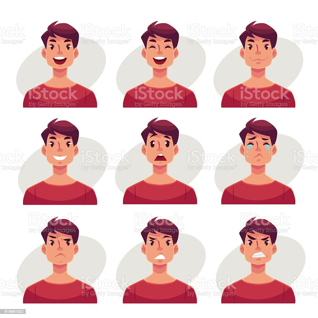 Set of young man face expression avatars vector art illustration