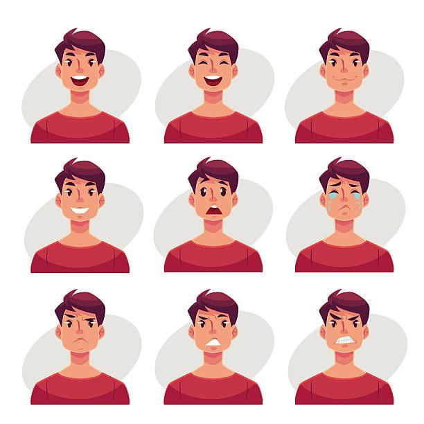illustrazioni stock, clip art, cartoni animati e icone di tendenza di set of young man face expression avatars - uomini giovani