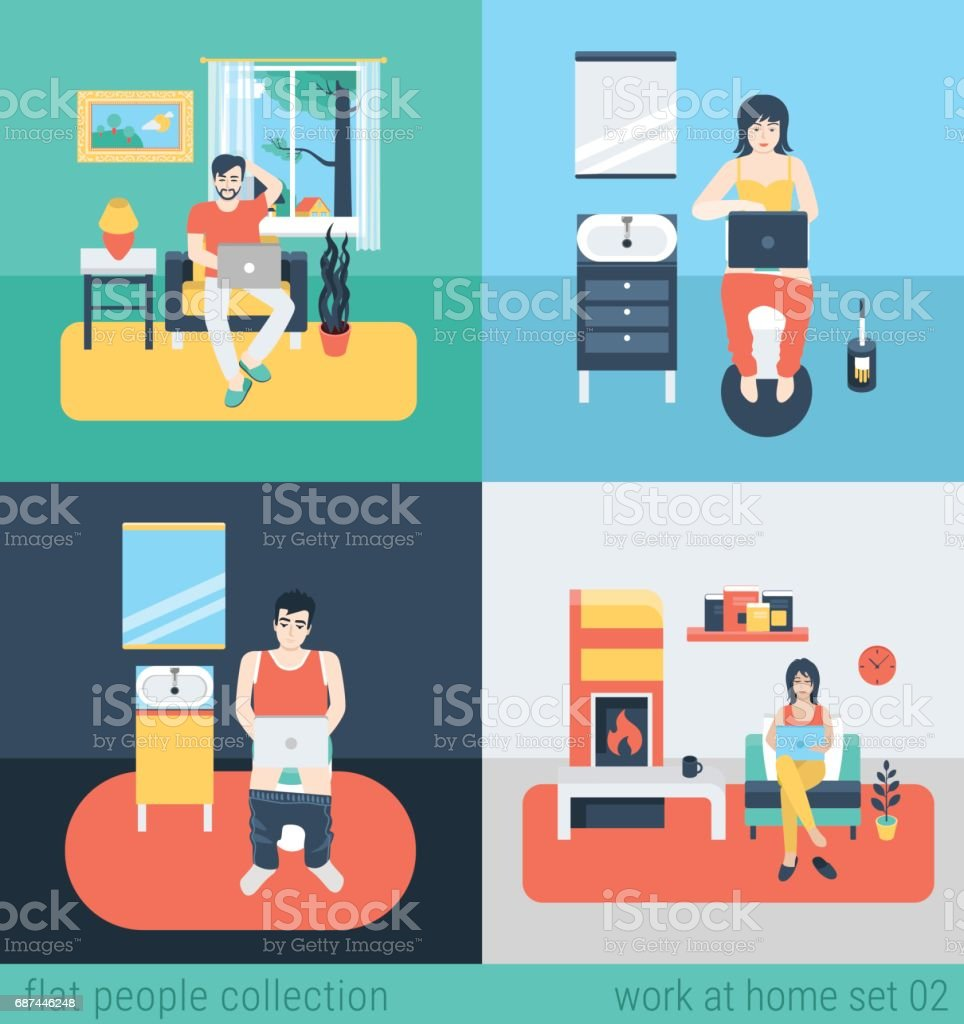 Set of young man woman freelance homework in living room WC bathroom toilet water closet. Flat people lifestyle situation work at home concept. Vector illustration collection of young creative humans. vector art illustration