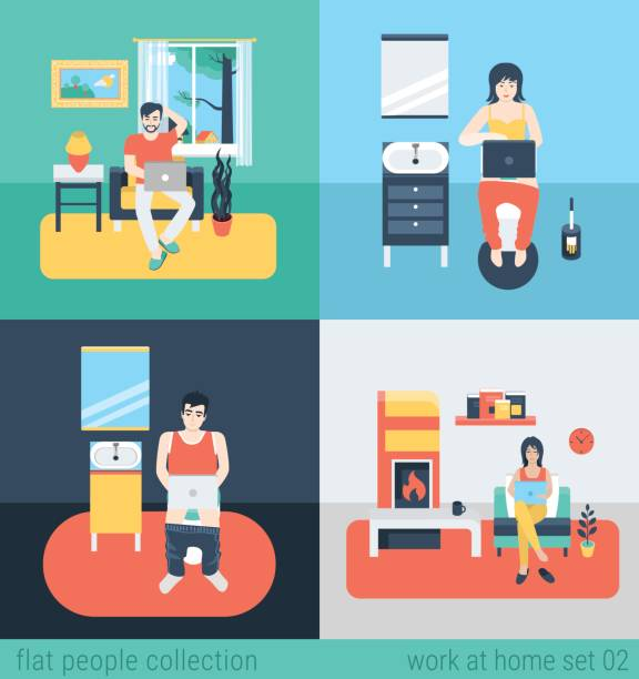 set of young man woman freelance homework in living room wc bathroom toilet water closet. flat people lifestyle situation work at home concept. vector illustration collection of young creative humans. - telecommuting stock illustrations, clip art, cartoons, & icons