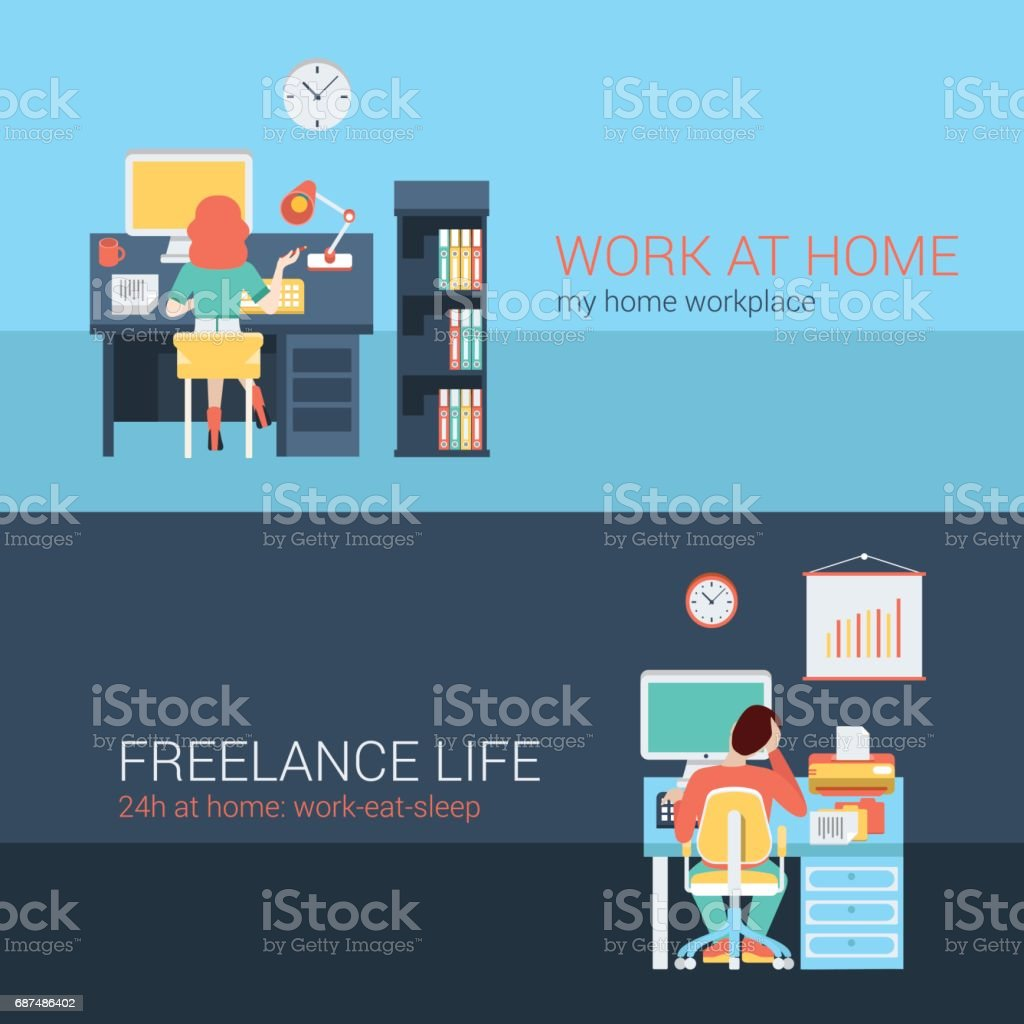 ... Set Of Young Man Woman Home Office Freelance Homework Laptop Table  Workplace Back View.