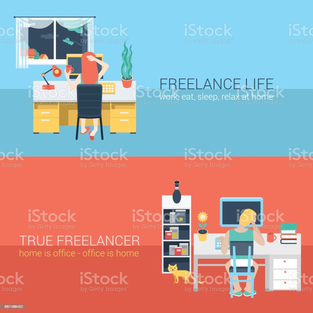Set of young man woman home office freelance homework laptop table workplace back view. Flat people lifestyle situation work at home concept. Vector illustration collection of young creative humans. - ilustración de arte vectorial