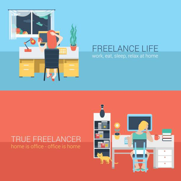 set of young man woman home office freelance homework laptop table workplace back view. flat people lifestyle situation work at home concept. vector illustration collection of young creative humans. - telecommuting stock illustrations, clip art, cartoons, & icons