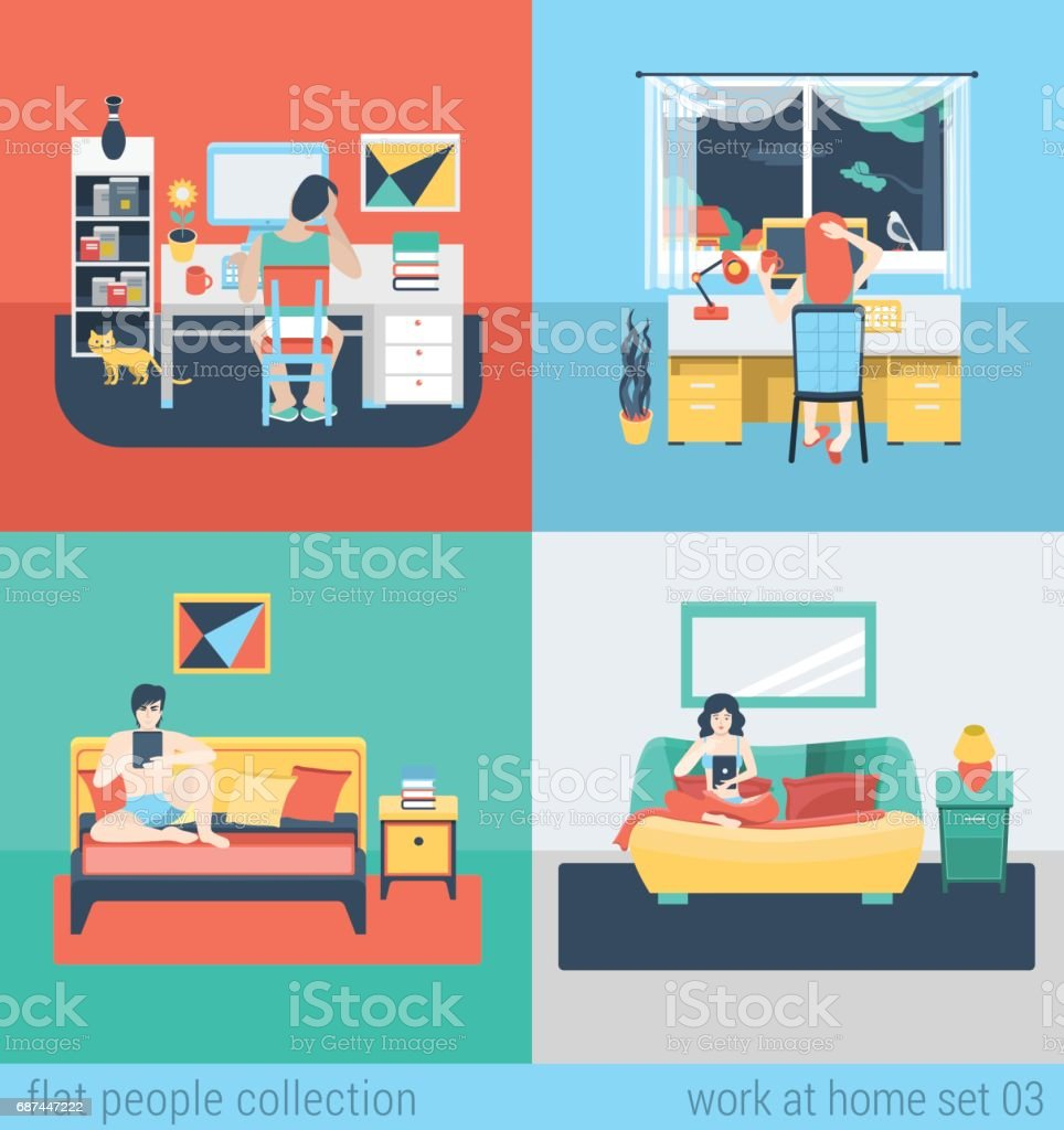 Set of young man woman home office freelance homework laptop tablet table workplace. Flat people lifestyle situation work at home concept. Vector illustration collection of young creative humans. ベクターアートイラスト