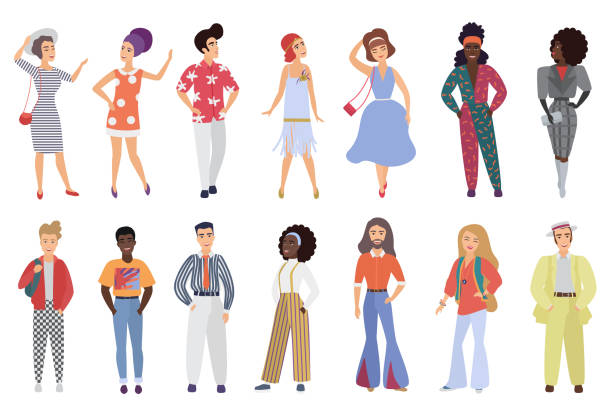 Set of young men and women wearing retro disco party clothes in 60s, 70s 80s style isolated on white background vector illustration. vector art illustration