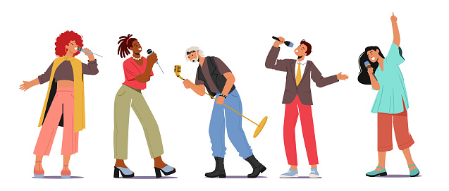 Set of Young People Dancing and Singing in Karaoke Club Concept. Male and Female Characters Sing with Microphones