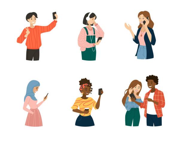 set von jungen menschen mit smartphones - selfie stock-grafiken, -clipart, -cartoons und -symbole