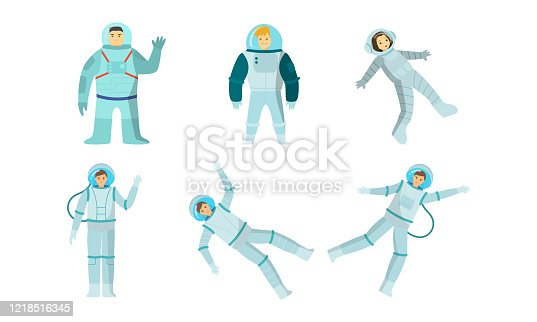 Set of young smiling men and women austronauts in special metallic costumes