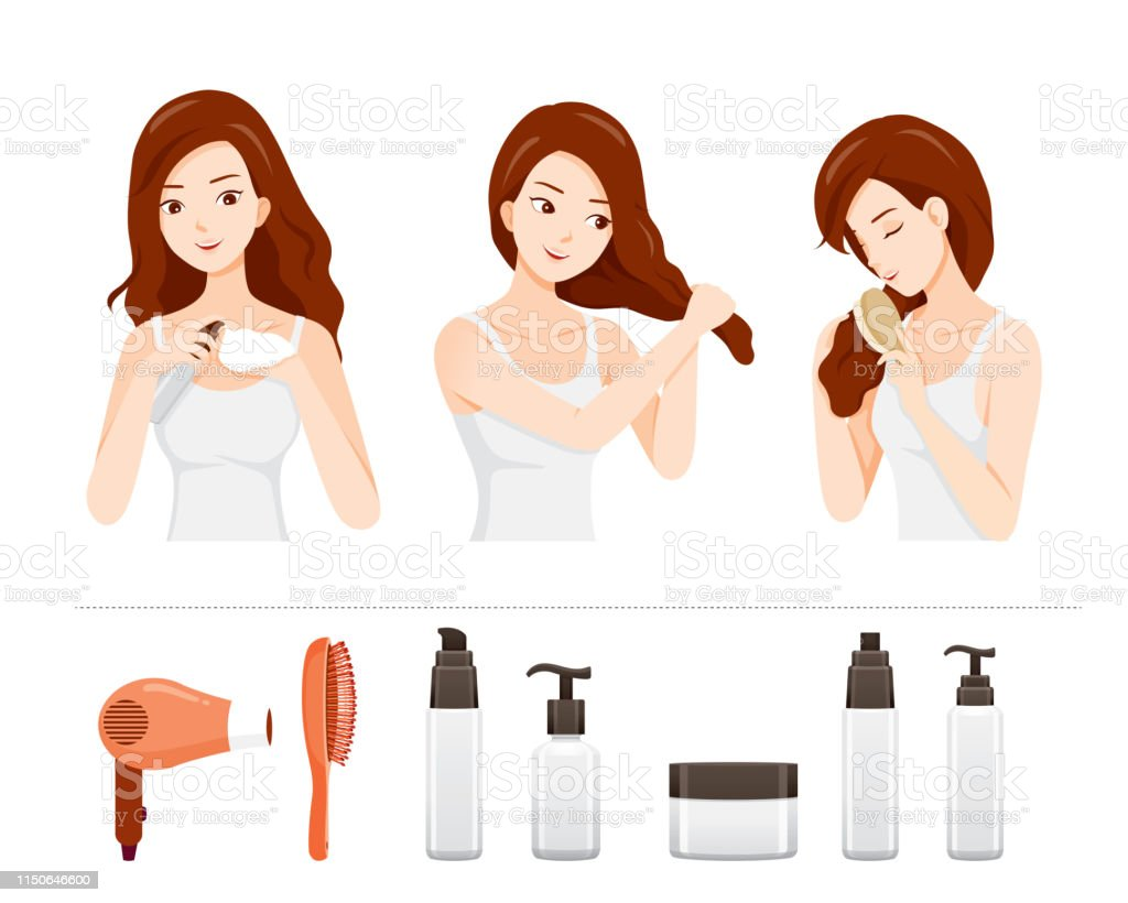 Set Of Young Woman Care And Treatment Her Hair With Hair Treatment Objects Stock Illustration Download Image Now Istock