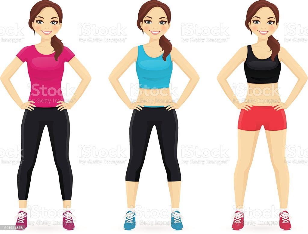 Set of young woman in different sportswear vector art illustration