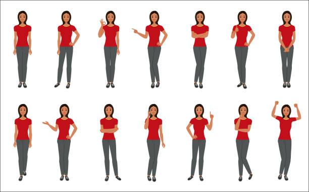 Satz von jungen Frau isoliert auf weißem Hintergrund – Vektorgrafik