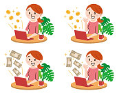 Set of Young woman with laptop and money in great online business