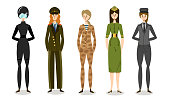 Collection set of young women soldiers or officers in combat uniform. Professional military and police female characters. Isolated icons set illustration on a white background in cartoon style.