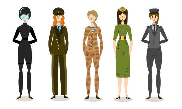 Set of young women soldiers in combat uniforms. Vector illustration in flat cartoon style. Collection set of young women soldiers or officers in combat uniform. Professional military and police female characters. Isolated icons set illustration on a white background in cartoon style. sergeant stock illustrations