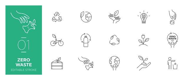 Set of Zero waste line icons - Modern icons
