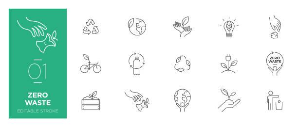 제로 폐기물 라인 아이콘 의 집합 - 현대 아이콘 - 상징 stock illustrations