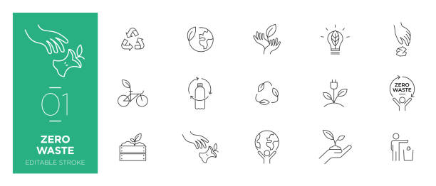 Set of Zero waste line icons - Modern icons Set of Zero waste line icons - Modern icons environmental issues stock illustrations