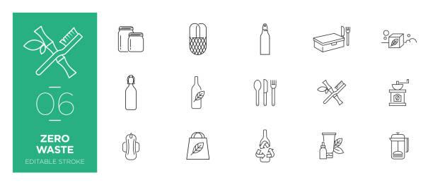 satz von zero abfalllinie symbole - moderne symbole - flaschenkürbis stock-grafiken, -clipart, -cartoons und -symbole