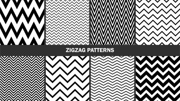 set of zigzag patterns graphic stylish seamless vector backgrounds classic patterns vector art illustration