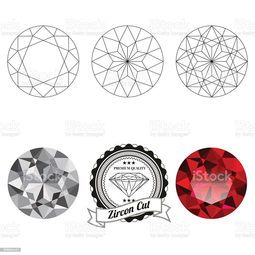 Set of zircon cut jewel views