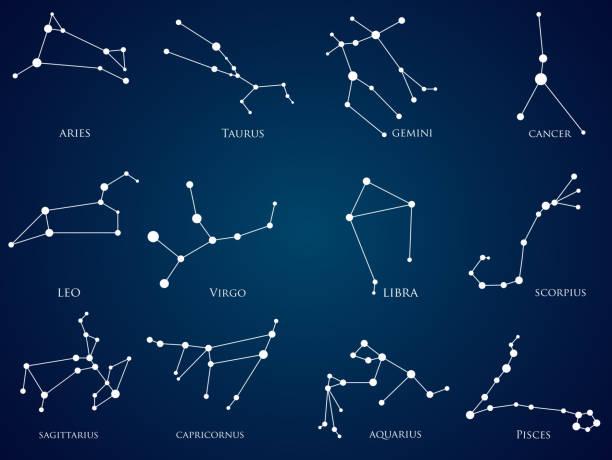 illustrations, cliparts, dessins animés et icônes de ensemble des constellations du zodiaque - pisces zodiac