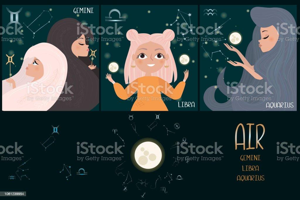 Set Of Zodiac Signs Character Element Of Air Gemini Libra