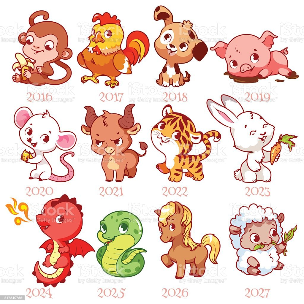 set of zodiac signs in cartoon style chinese zodiac stock vector art more images of animal. Black Bedroom Furniture Sets. Home Design Ideas