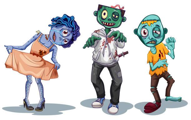 bildbanksillustrationer, clip art samt tecknat material och ikoner med uppsättning av zombie karaktär - zombie