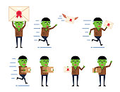 様々なシチュエーションでキャラクターと小包箱をポージングしたゾンビキャラのセット。面白いハロウィーンの文字を保持し、実行し、他のアクションを表示