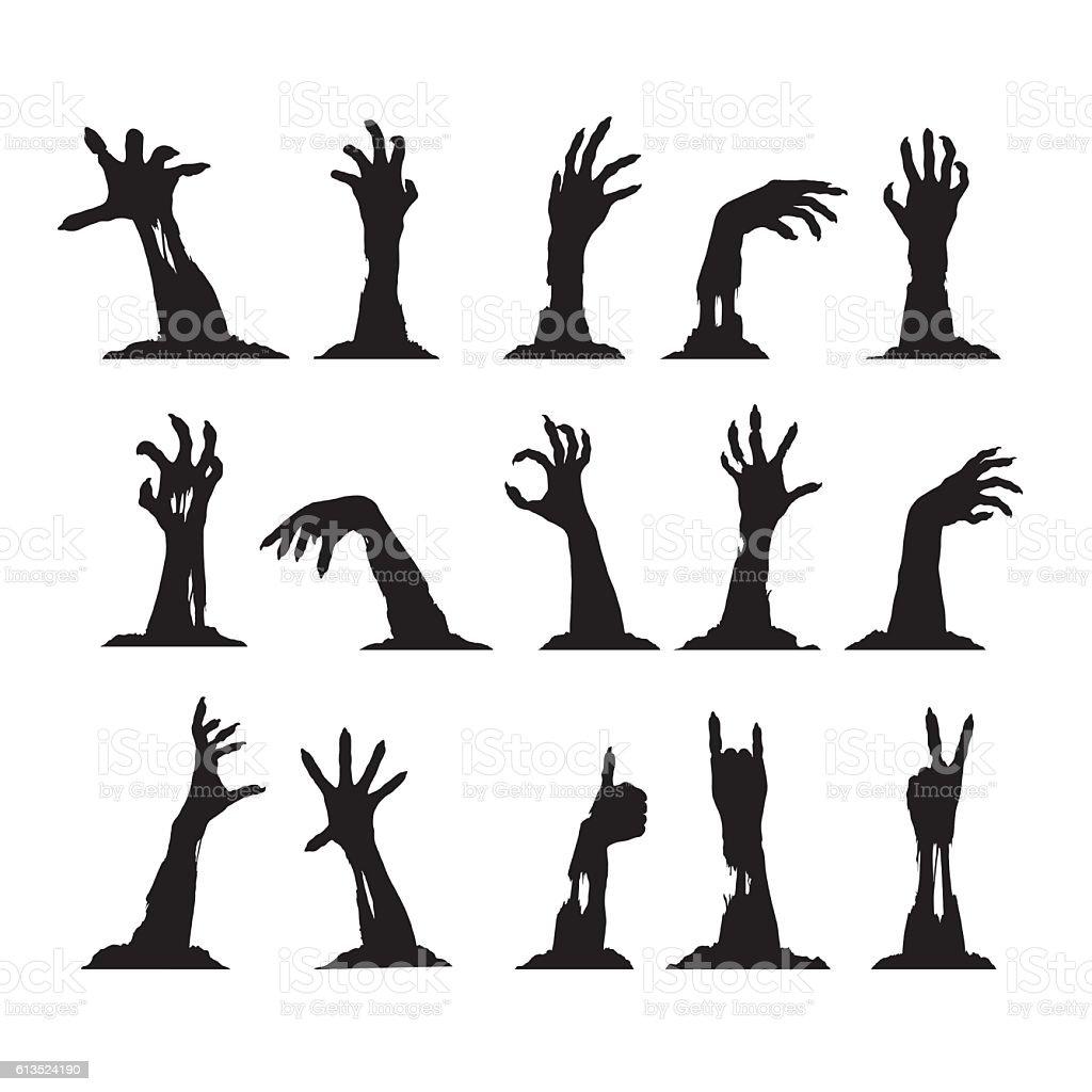 Set of Zombie Hands vector art illustration