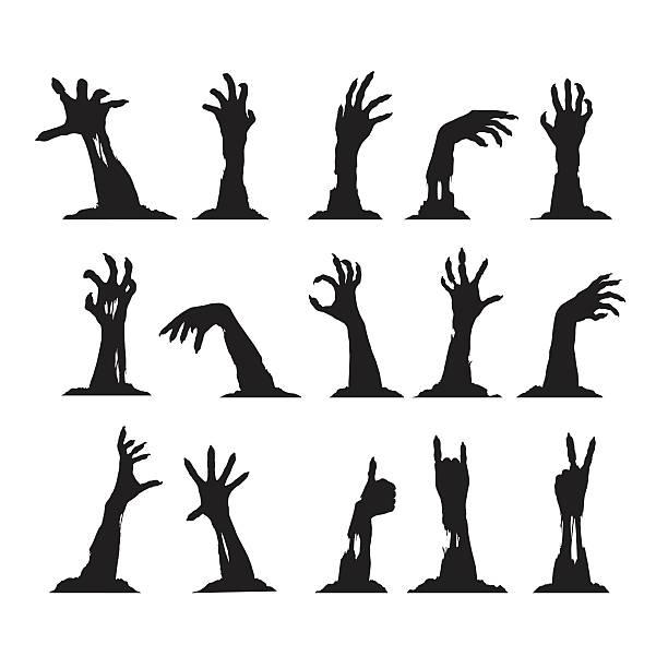 bildbanksillustrationer, clip art samt tecknat material och ikoner med set of zombie hands - zombie