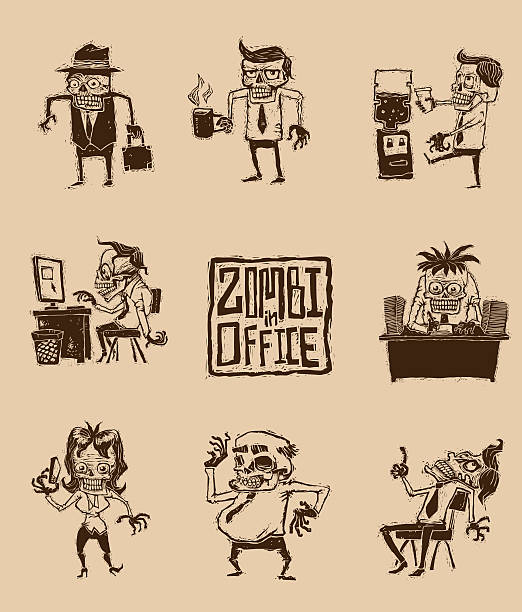 set of zombies in office - old man funny pictures stock illustrations