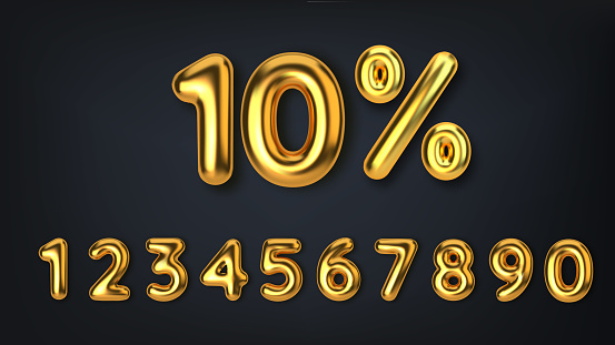 Set off discount promotion sale made of realistic 3d gold balloons. Number in the form of golden balloons. Template for products, advertizing, web banners, leaflets, certificates and postcards. Vector illustration