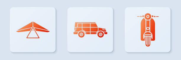 ilustrações, clipart, desenhos animados e ícones de detonar carro de estrada, asa delta e scooter. botão quadrado branco. vetor - ícones de design planar