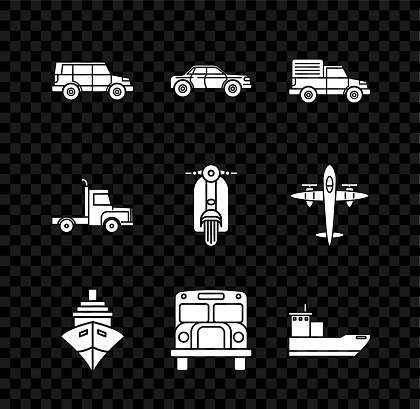 Set Off road car, Sedan, Delivery cargo truck vehicle, Cargo ship, School Bus, and Scooter icon. Vector