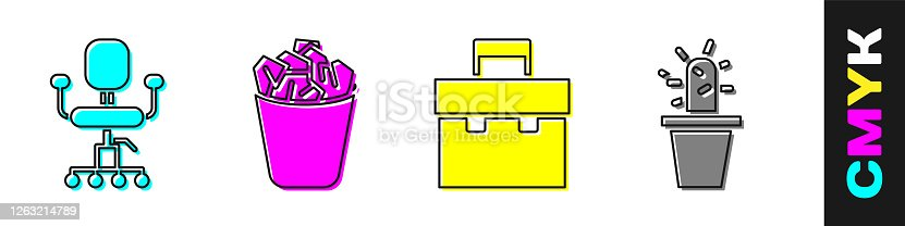 Set Office chair, Full trash can, Briefcase and Cactus and succulent in pot icon. Vector