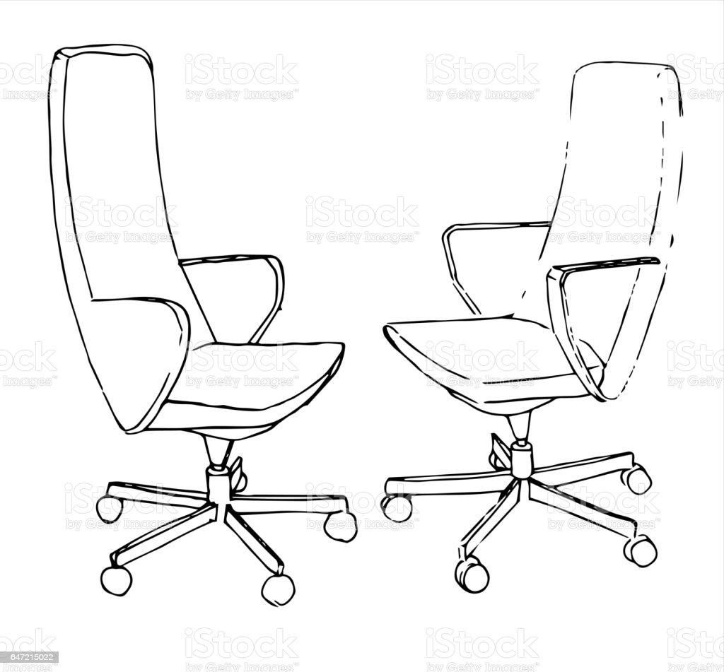 Set Office Chairs Isolated On White Background Sketch Different ChairsVector Illustration Royalty