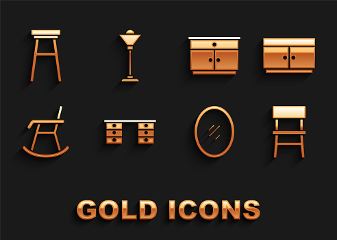 Set Office desk, Chest of drawers, Chair, Mirror, Armchair, Furniture nightstand, and Floor lamp icon. Vector