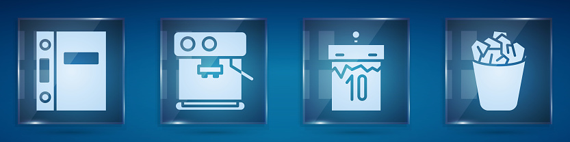 Set Office folders, Coffee machine, Calendar and Full trash can. Square glass panels. Vector