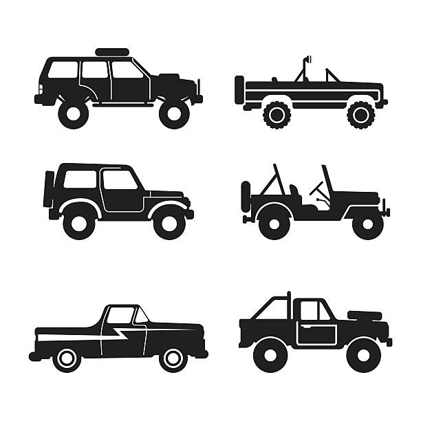set Off-road vehicle, vector illustration vector art illustration